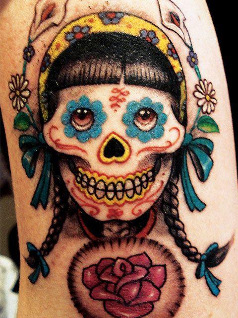 Maori Dia De Los Muertos Lady Skull Tattoo Design For Girls