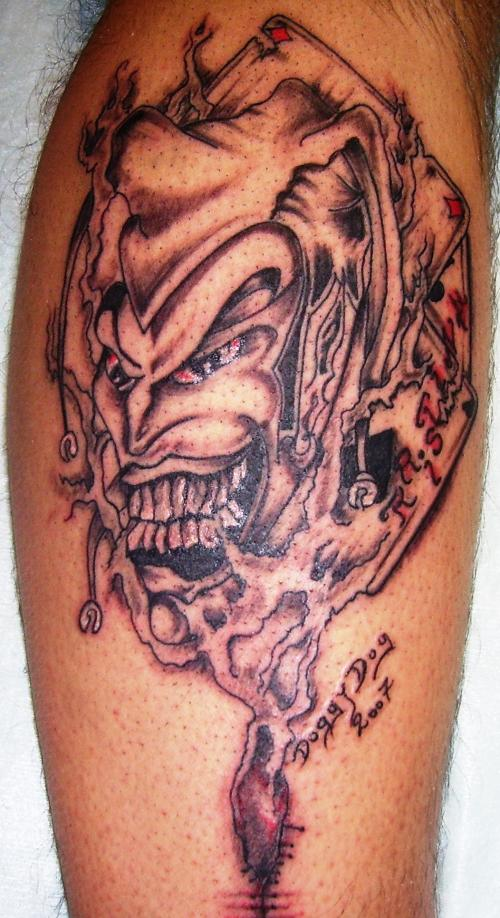 Maori Evil Clown Fantasy Tattoo Design For Boys
