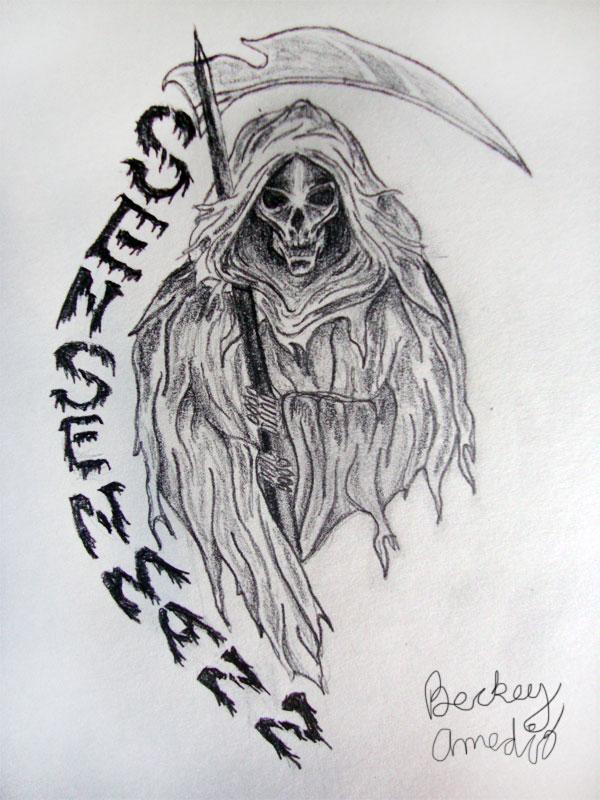 Maori Grim Reaper Tattoo Design For Boys