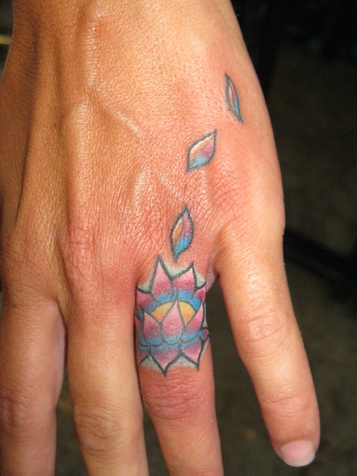 Maori Lotus Flower Ring Finger Tattoo For Boys