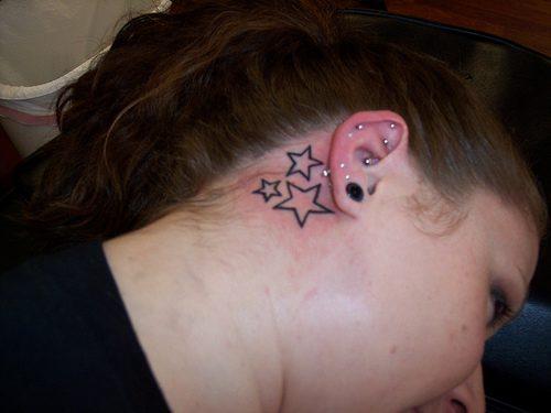Maori Stars Tattoo Below Ear For Girls
