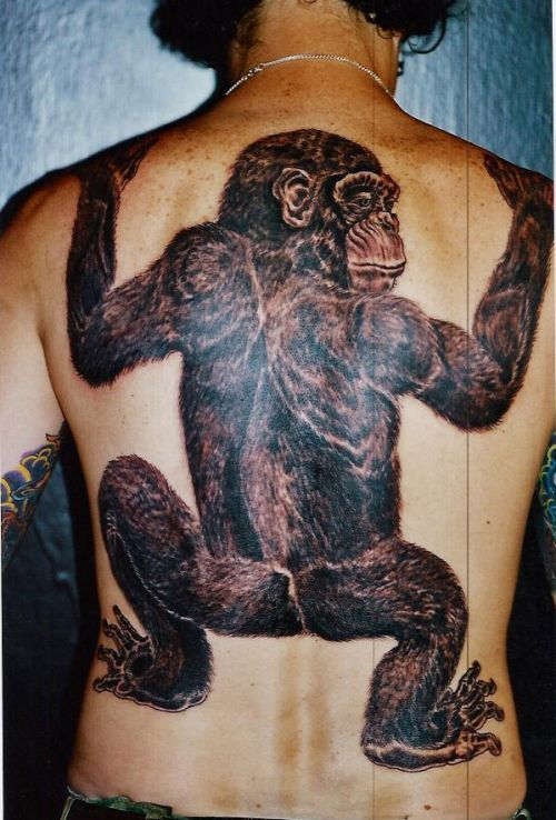 Marvel Funny Monkey Tattoo On Back Of Body For Boys