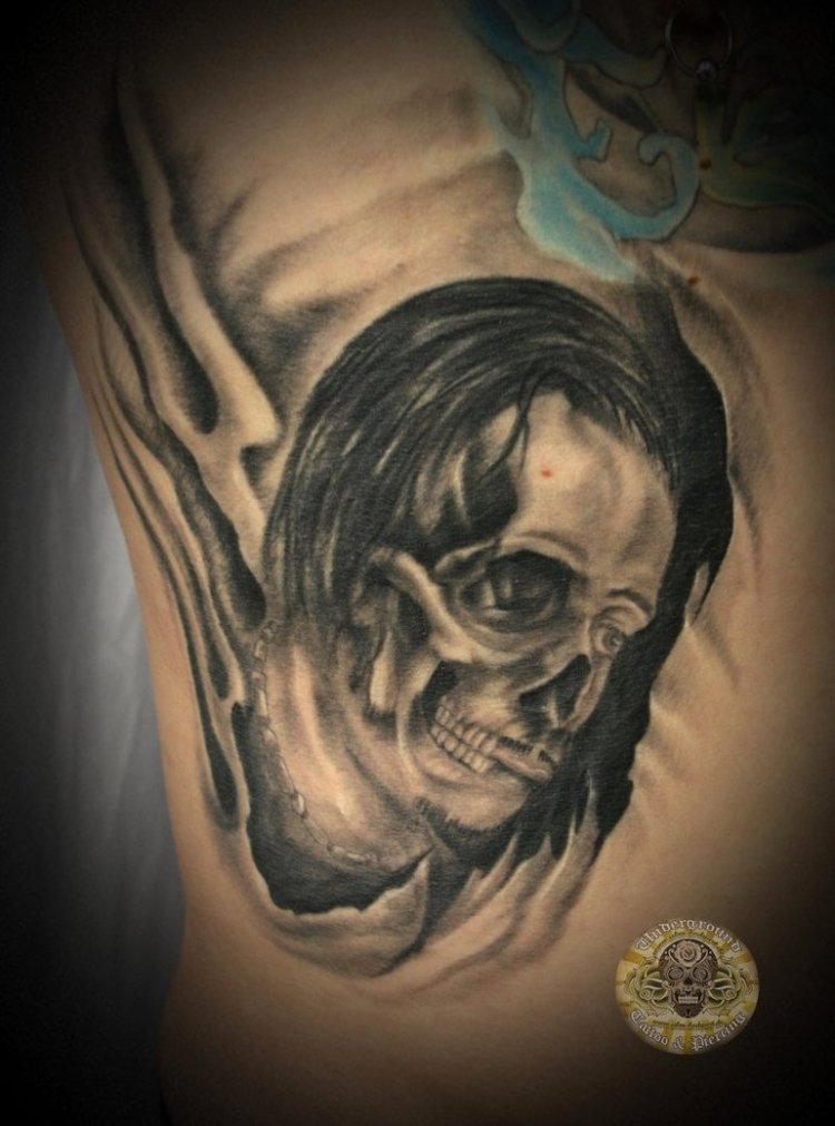 Marvel Horror Skull Face Tattoo Design For Boys
