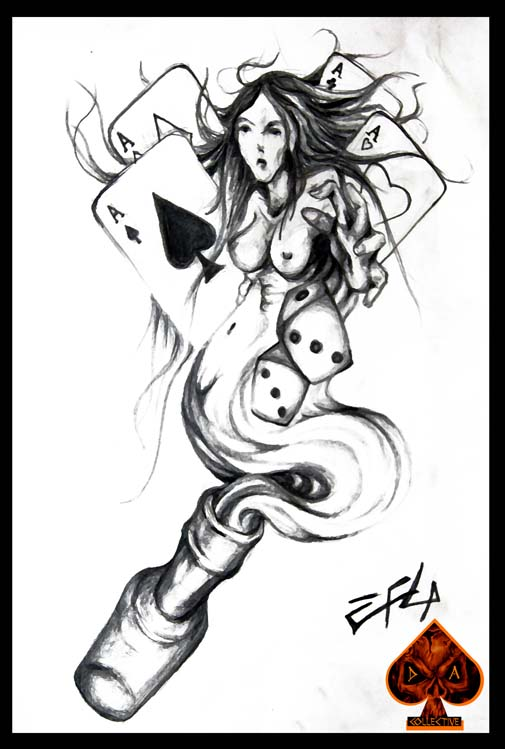 Marvel Man's Ruin Gambling Tattoo Picture For Girls