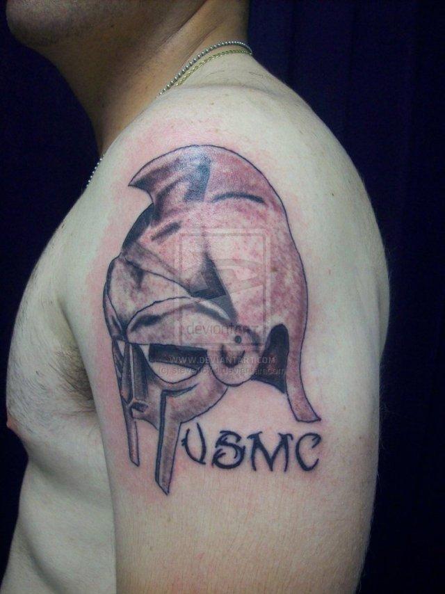 Marvel USMC Helmet Tattoo On Shoulder For Boys