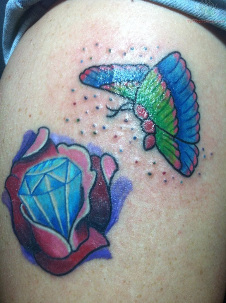 Marvelous Diamond Rose n Butterfly Tattoo Design For Girls
