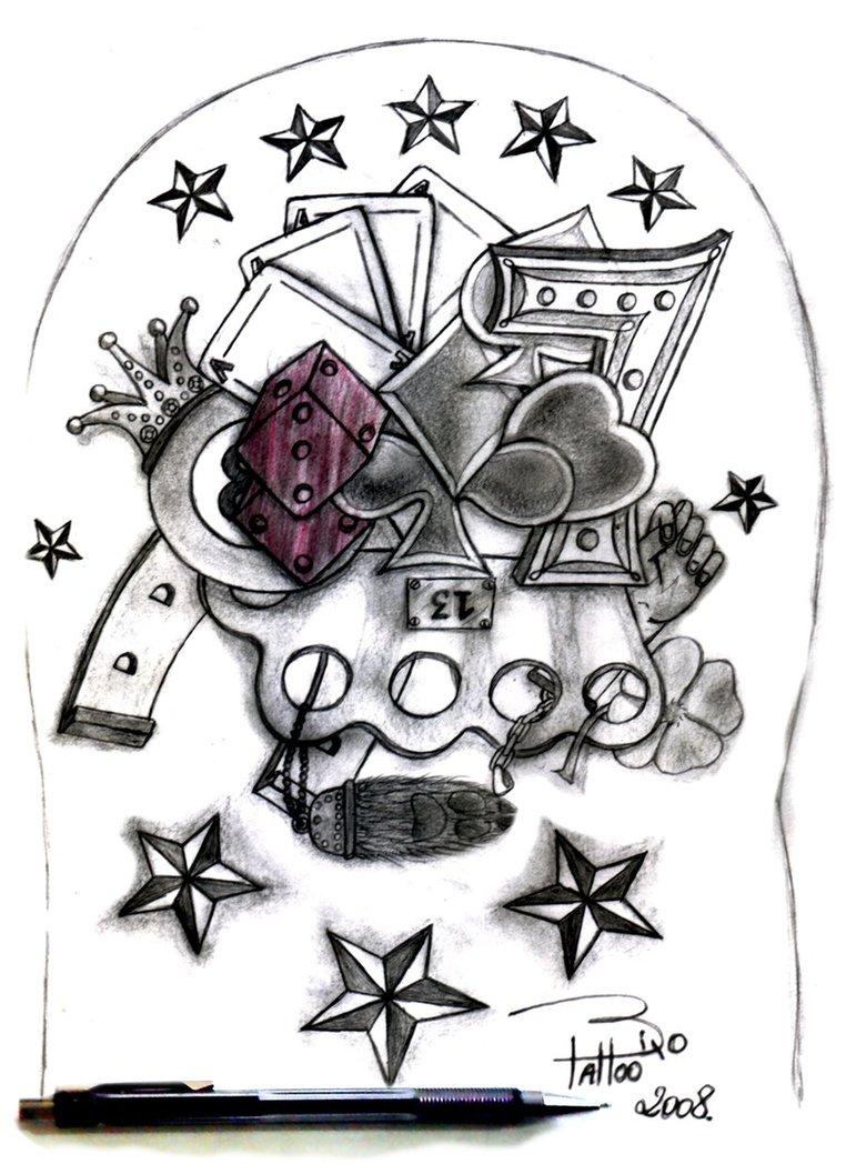 Marvelous Gambling Tattoo Designs For Boys