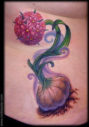 Marvelous Garlic Flower Tattoo Design For Girls