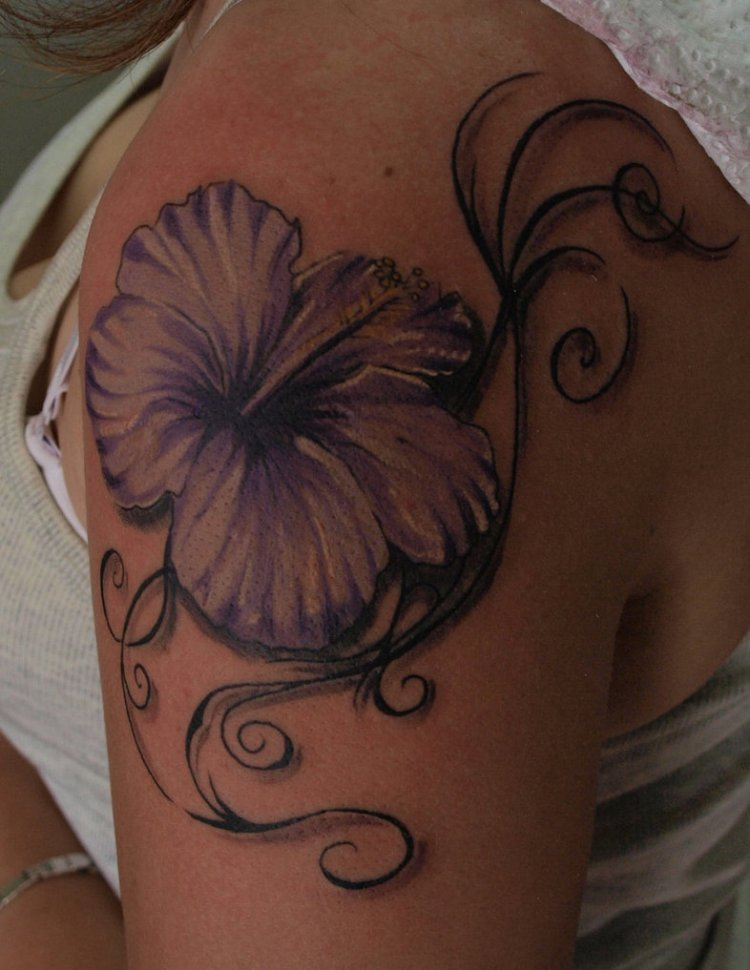 Marvelous Hibiscus Tattoo On Shoulder For girls