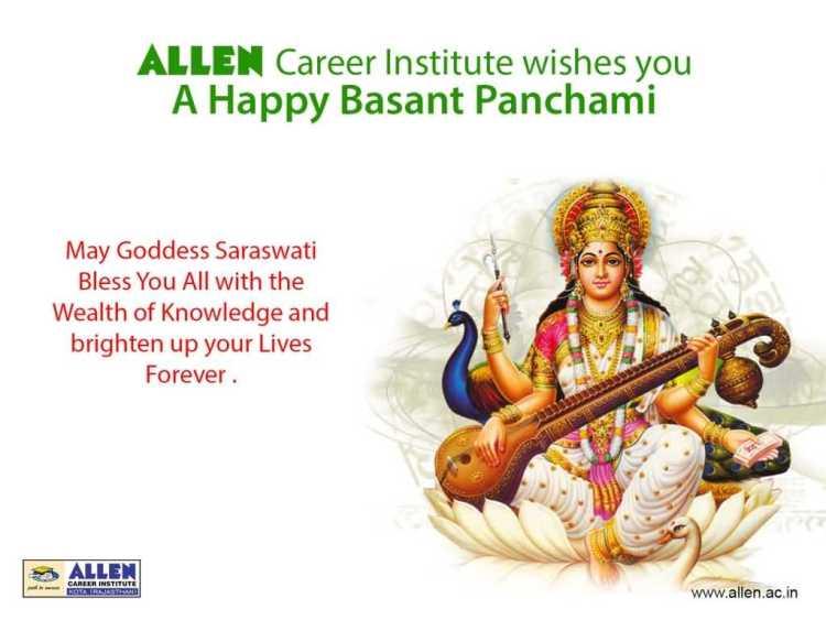 May Goddess Saraswati Bless You Happy Basant Panchami Wishes Image