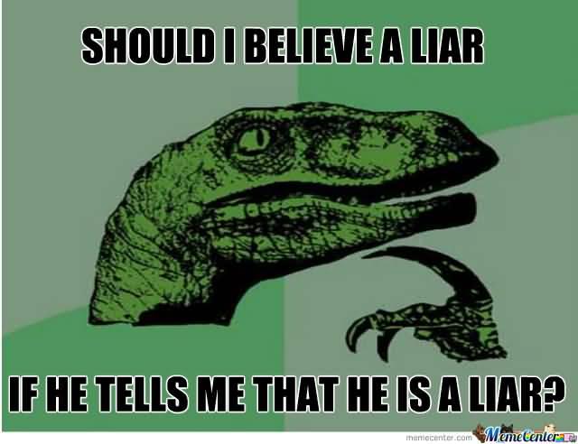 Meme Should I Believe A Liar If He Tells Me That He Is A Liar Image