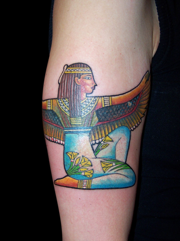 Mind Blowing Egyptian Isis Tattoo Design On Biceps For Girls