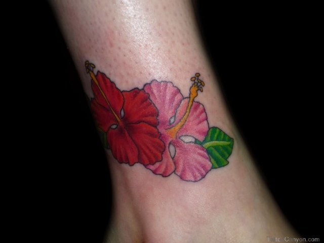 Mind Blowing Hibiscus Tattoo Picture On Ankle For Girls