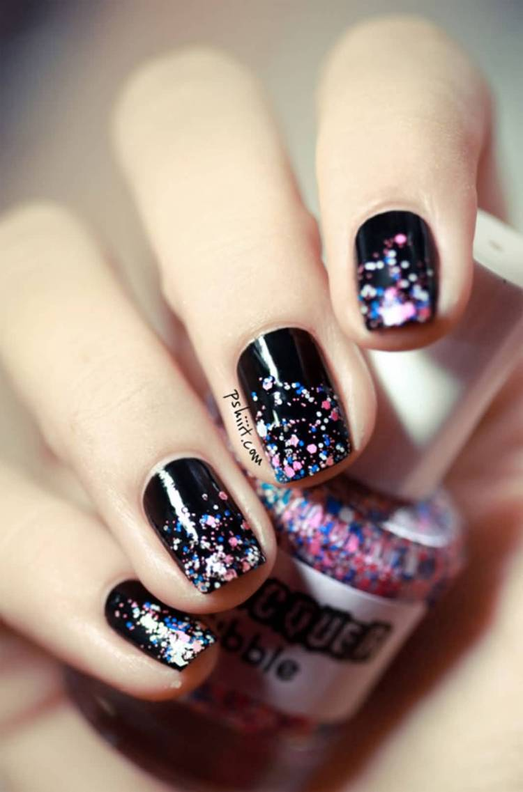 Mixed Black WIth Colorful Sparkle Black Acrylic Nail Art