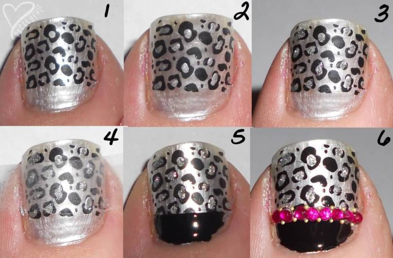 Most Amazing Black And Grey Nails With Silver Below Side