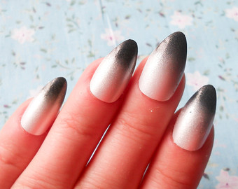 Most Amazing Dark Color Tips With Almond Shaped Acrylic Nail Art