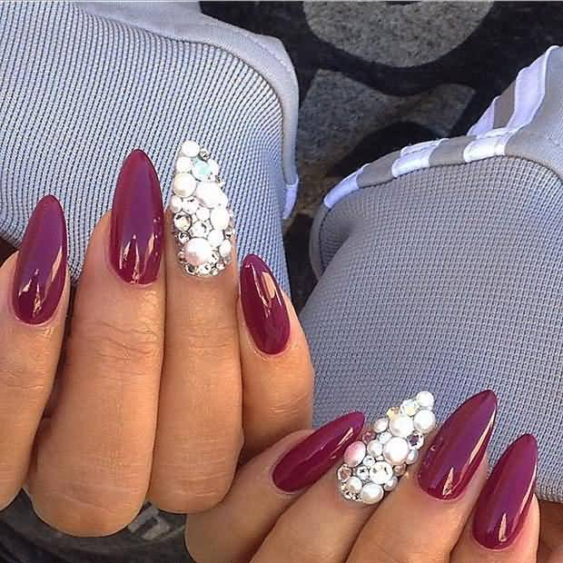 Most Amazing Dark Red Color Paint With Stones Accent Nail Art