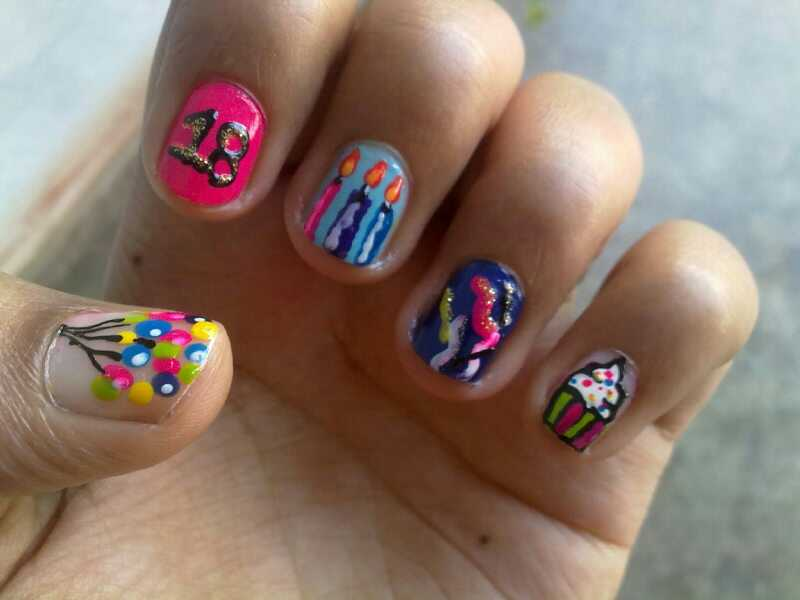 Most Beautiful 18 Year Age With Candles And Balloons Birthday Nails