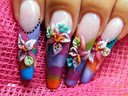 Most Beautiful Colorful Flower 3D Acrylic Nail Art