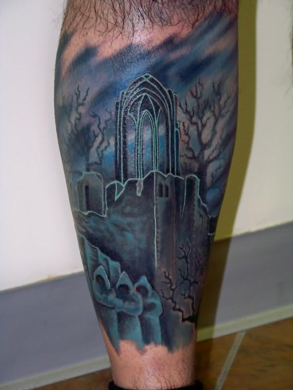 Most Beautiful Graveyard Tattoo Design On Leg For Boys