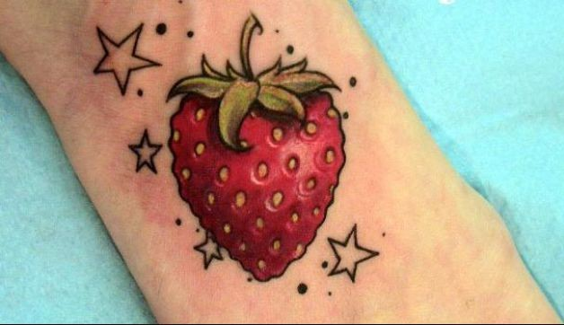 Most Beautiful Strawberry Fruit n Stars Tattoo Design for Boys