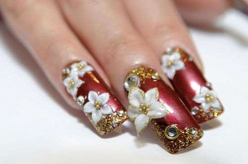 Most Beautiful White Color Nail Art 3D Nail Art