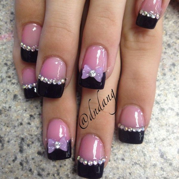 Most Fabulous Black French Tip Nails With Pink Nails And 3d Bow