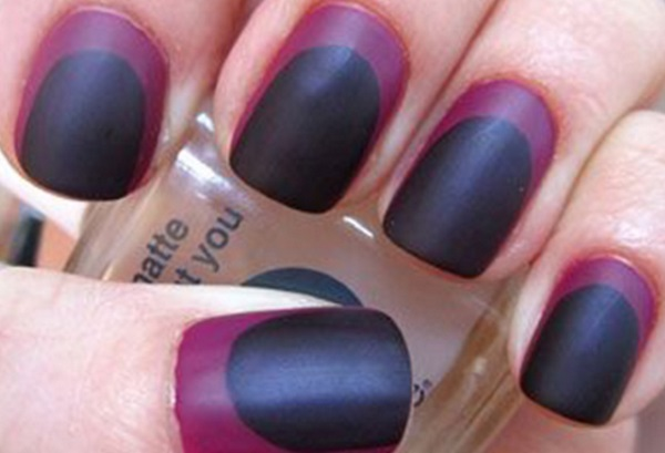 Most Fabulous Black Matte Nails With Inner Pink Core