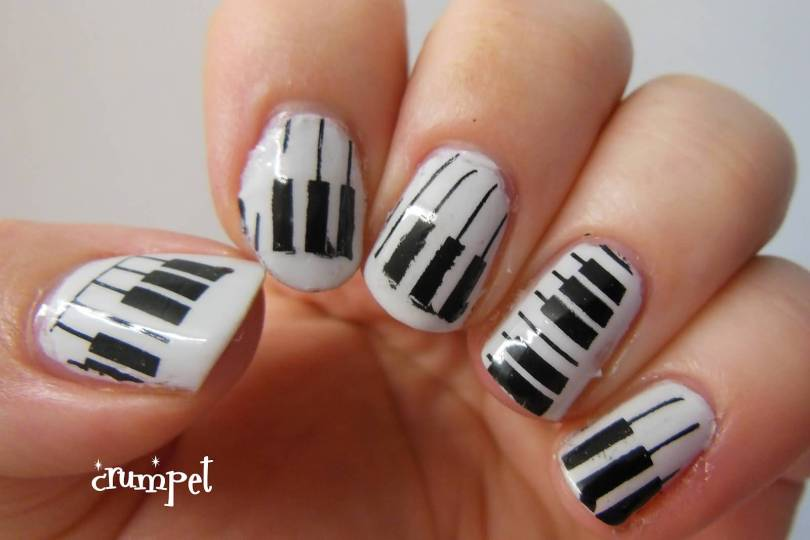 Most Fabulous White And Black Nail Art With Piano Design