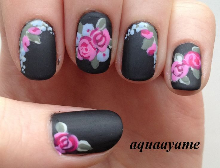 Most Stunning Black Matte Nails With Pink Flower