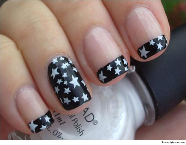 Most Superb Black French Tip Nails With Stars Design