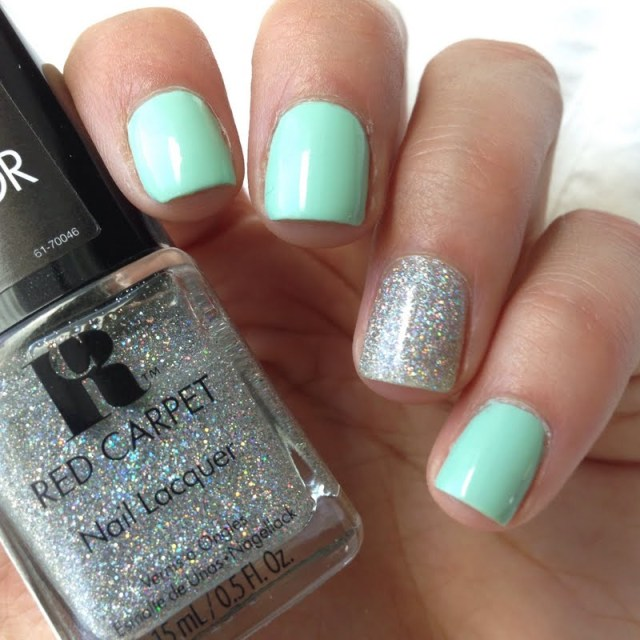 Most Tremendous Sky Blue Color Paint With Glitter Accent Nail Art