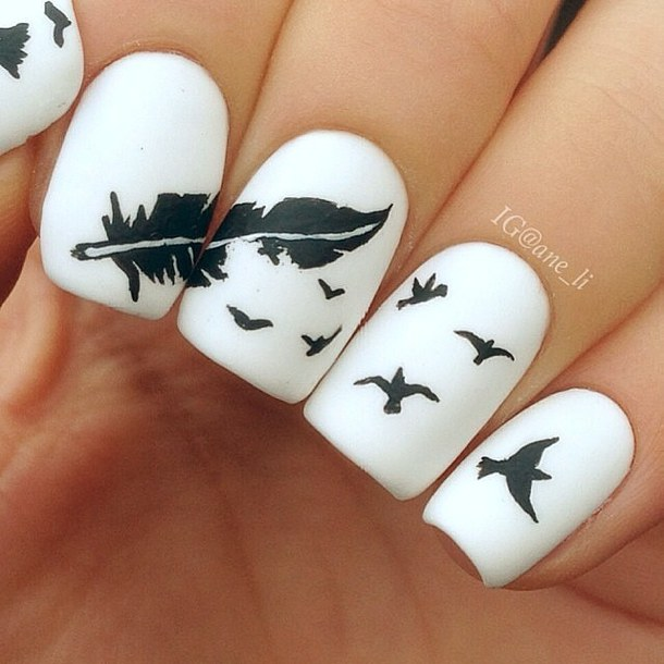 Most Trending Feather With Birds Black And White Nails