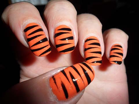Most Unique Black And Pink Nails With Tiger Print Design