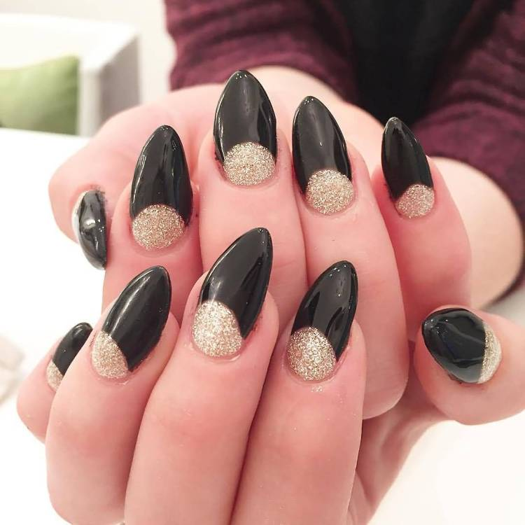 Most Unique Black And White Polka Dot Nail Art With Sparkling Silver