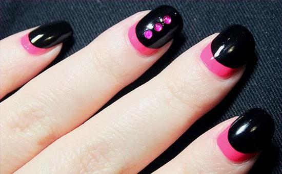 Most Unique Black Nail Art With Pink Color Button Design