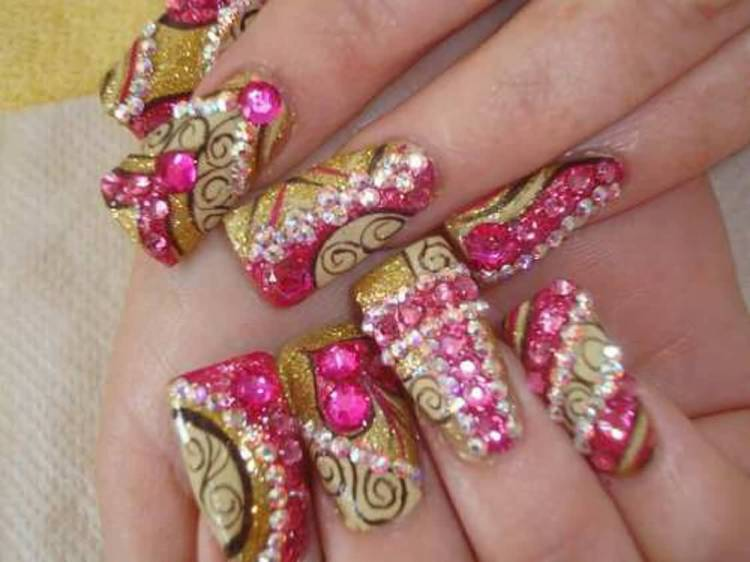 Most Unique With Golden Tips And Diamond Design 3D Nail Art