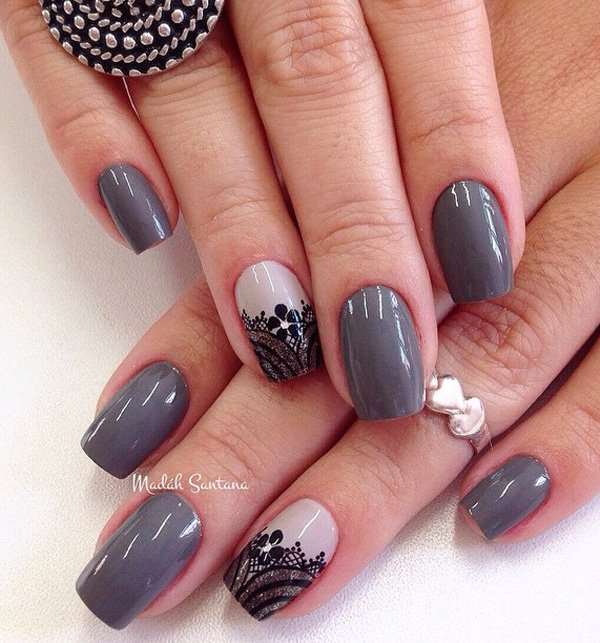 Most Wonderful Black And Grey Nails With Flower Design