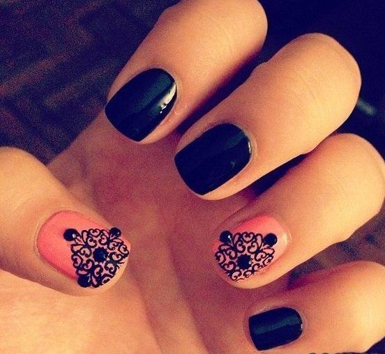 Most Wonderful Black And Pink Nails With Crystal
