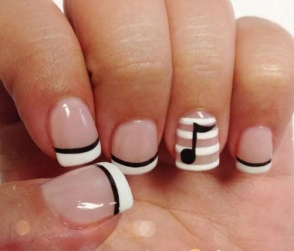 Most Wonderful Music Sign Black And White Nail Art