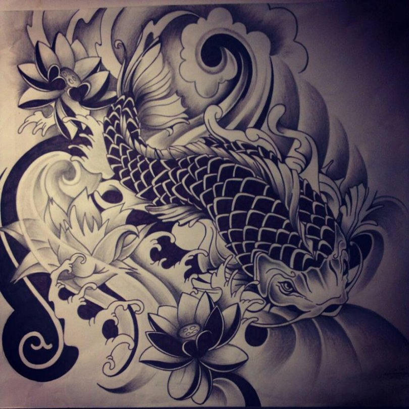 Motivational Japanese Koi Fish Tattoo Drawing For Girls