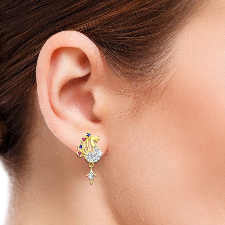 Multi Color Stones Peacock Gold Plated Earrings 002