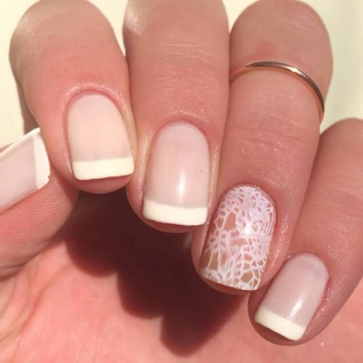 Natural Tips With Snow Design Accent Nail Art