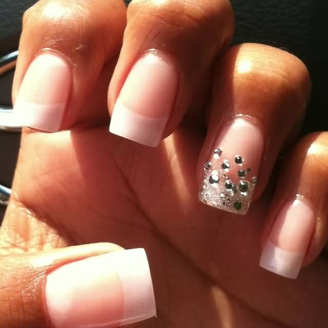 Natural nails With Rhinestones Accent Nail Art