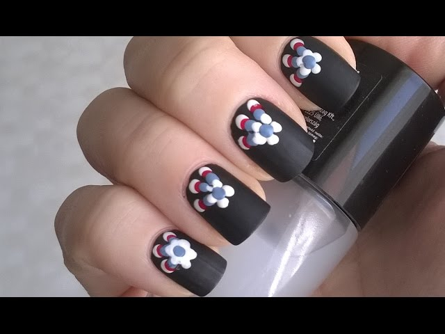 Nice Black Matte Nails With White Color Flower