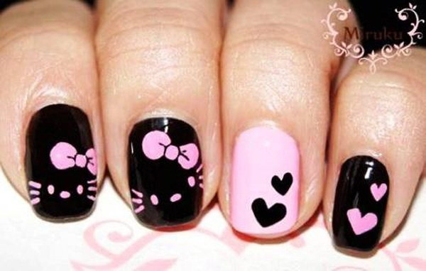 Nice Black Nail Art Design With Cute Bow