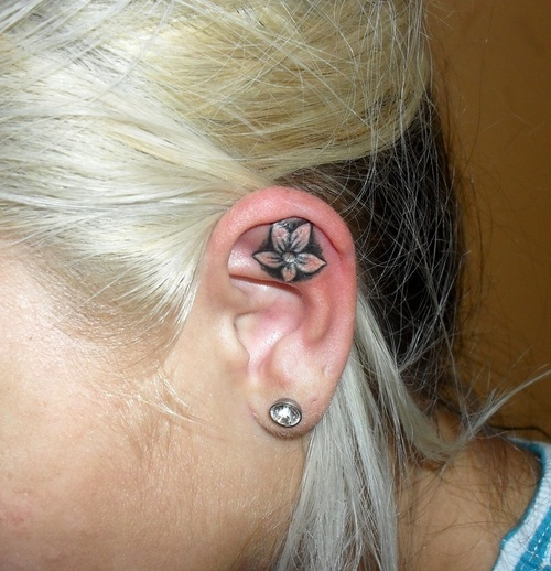 Nice Ear Tattoo Design For College For Women