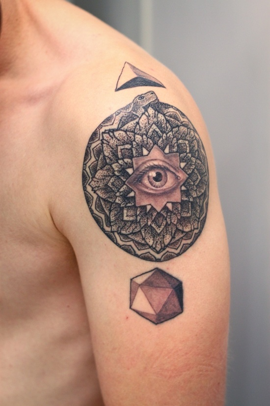 Nice Eye Tattoo Design On Shoulder For Boys