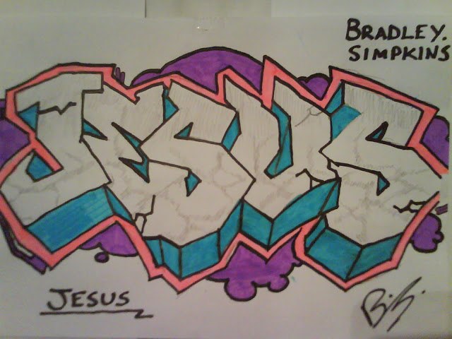 Nice Graffiti Jesus Tattoo Design For Boys