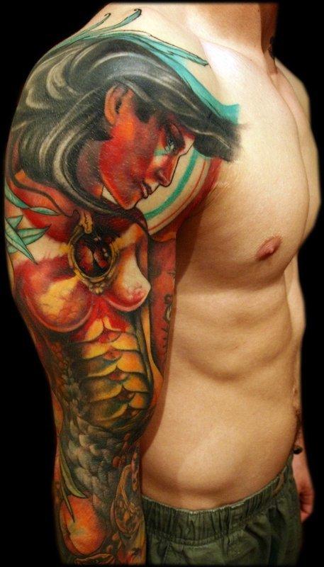 Nice Greek Mythology Sleeve Tattoo Design For Boys